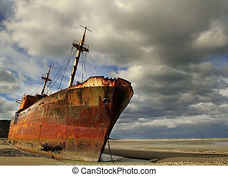 Abandoned and rusty shipwreck in Argentina