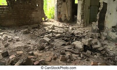 abandoned army building and toxic oil materials on floor -...