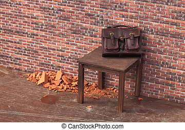 abandoned bag on a brick wall