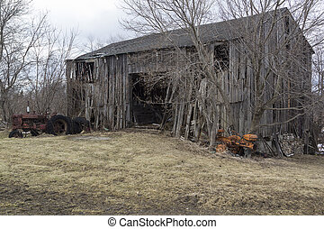 Abandoned Barn - Old dilapidated and abandoned barn with...