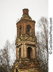 Abandoned bell tower 18th century, Church of the Holy Trinity in Troitsa-Zazharye, Belfry, Russia, Kostroma region