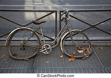 Abandoned bicycle on the street