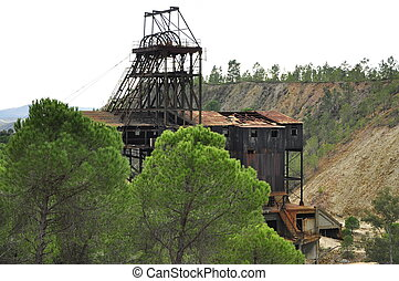 Abandoned big old mining tower