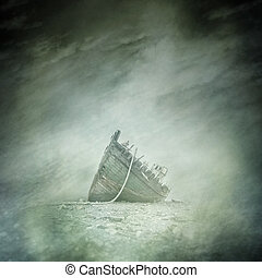 Abandoned boat wreck on a bleak, rocky shore beneath a surreal and dreamlike sky.