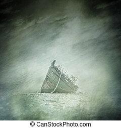 Abandoned Boat Wreck - Abandoned boat wreck on a bleak,...