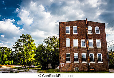 Abandoned brick building in Bairs, Pennsylvania.