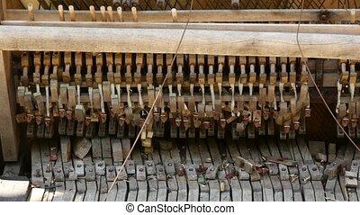 Abandoned broken piano outside in public park. 4K -...