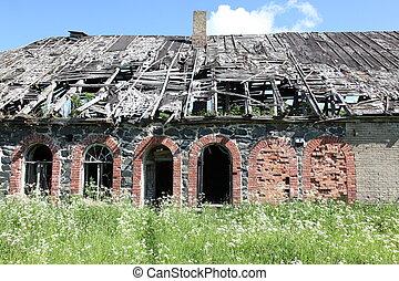 abandoned building facade