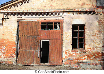 abandoned building from red brick