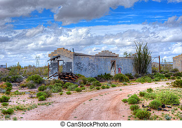 Abandoned Building - Old abandoned block house in Southwest...