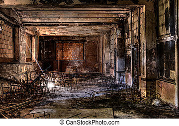 abandoned building - interior of an abandoned building with...