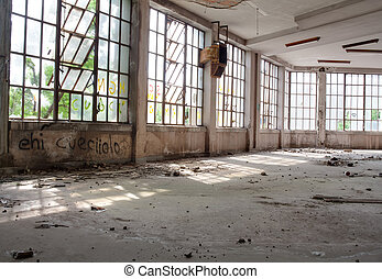 Abandoned building - View of broken windows of abandoned...
