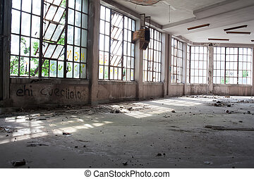 Abandoned building - View of interior of an abandoned ...