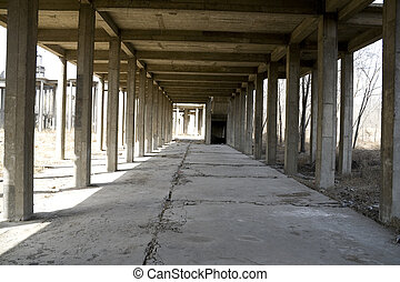 Abandoned building with columns forming a corridor