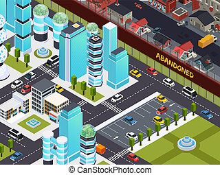Abandoned Buildings Isometric Composition - Urban empty and...