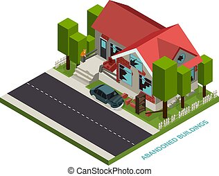 Abandoned Buildings Isometric Concept - Abandoned buildings...