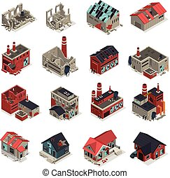 Abandoned Buildings Isometric Set - Abandoned buildings...