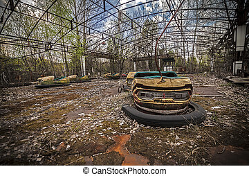 Abandoned bumper cars in Pripyat - Abandoned bumper cars in...