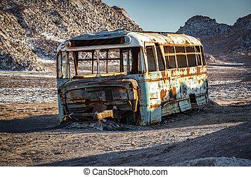 Abandoned bus in the desert of Atacama, Chile