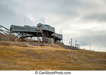 Abandoned cablecar station used for coal transportation, Svalbard