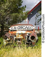 Abandoned car along US Route 66