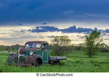 Abandoned Car In A Field
