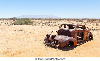 Abandoned car in the Namib Desert