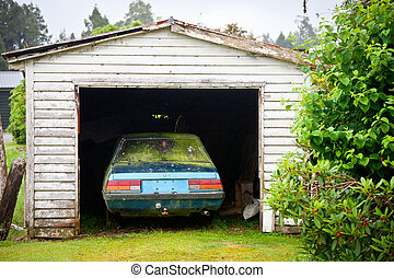 Abandoned car - Forgotten car in a garage