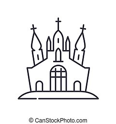 Abandoned castle icon, linear isolated illustration, thin line vector, web design sign, outline concept symbol with editable stroke on white background.