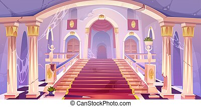 Abandoned castle staircase, empty old palace hall entrance interior with spider web, cracked pillars, statues, dilapidated rag and wood doors, medieval antique architecture Cartoon vector illustration