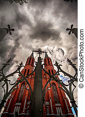 Abandoned Catholic Church in Gothic style in frightening times of the day