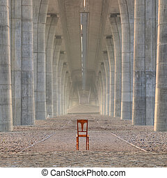 Abandoned chair under the highway bridge
