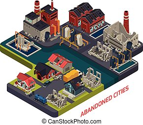Abandoned Cities Isometric Composition - Abandoned cities...