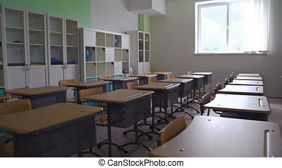 Abandoned Classroom - Panoramic shot of empty classroom