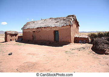 Abandoned clay house in Bolivian Altiplano, South America