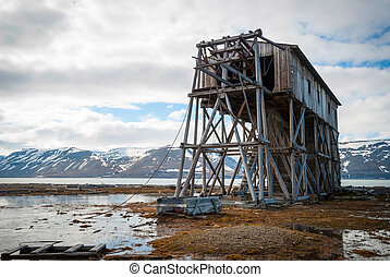 Abandoned coal mine transportation station in Svalbard