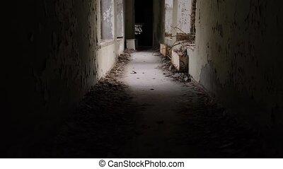 Abandoned corridor in Pripyat Chernobyl Exclusion Zone Ukraine 2020