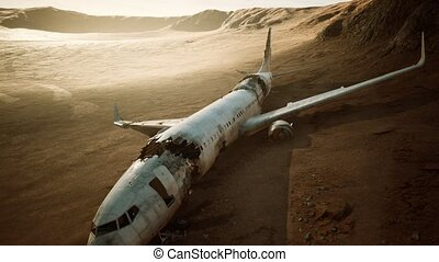 abandoned crushed plane in desert