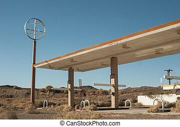 abandoned desert gas station in southern California