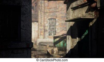 Abandoned Factory empty because of the coronavirus covid-19 epidemic