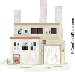 Abandoned Factory Illustration - Illustration of an ...