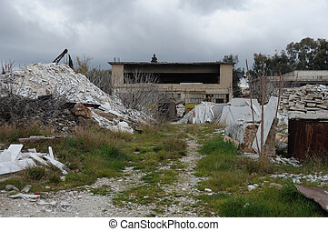 abandoned factory pile of marble