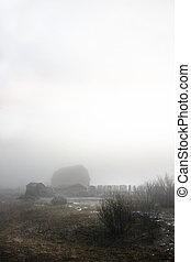 Abandoned farmyard engulfed in fog.