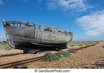 Abandoned fishing boat at Dungeness. - forgotten fishing...