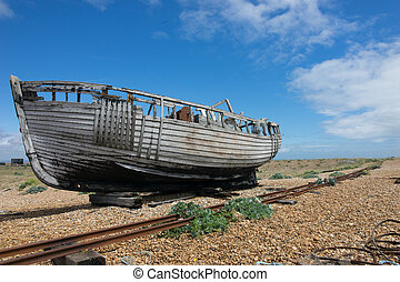 Abandoned fishing boat at Dungeness. - forgotten fishing...