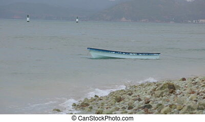 Abandoned fishing boat in water