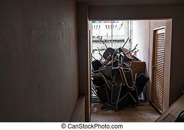 abandoned furniture in soft light