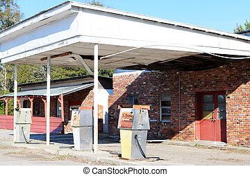 Abandoned gas and service station. Gas stations like this...