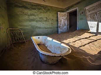 Abandoned ghost town of Kolmanskop in Namibia