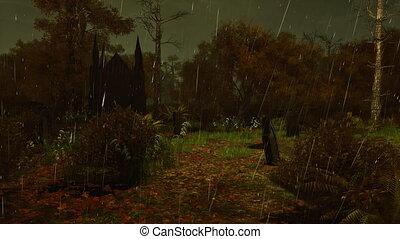Abandoned graveyard at dark rainy night 4K - Abandoned...